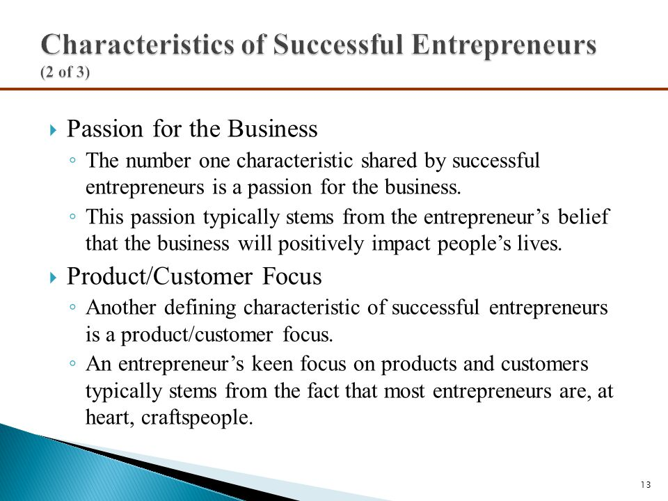 Characteristics of Successful Entrepreneurs (2 of 3)