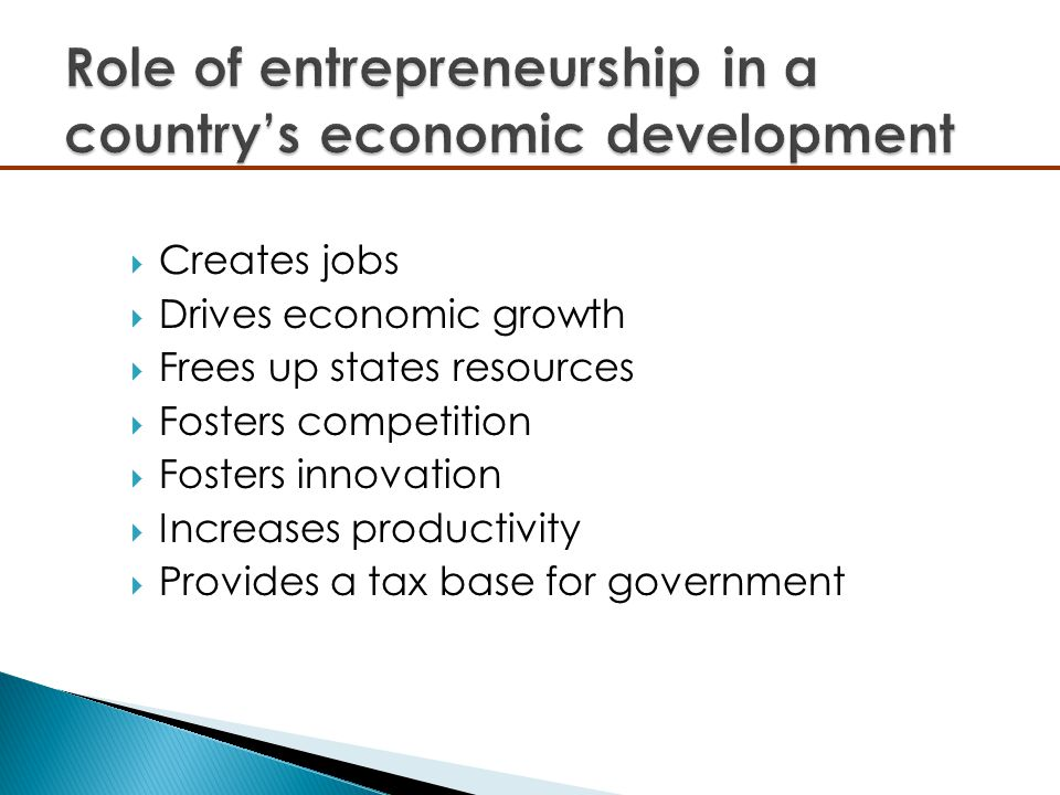 Role of entrepreneurship in a country's economic development