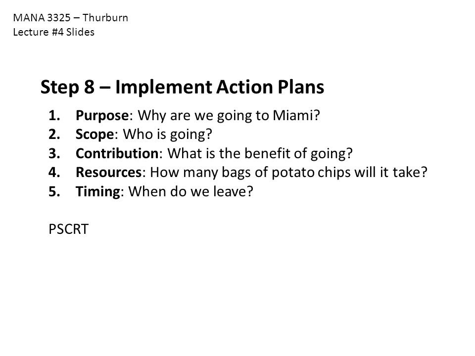 Step 8 – Implement Action Plans