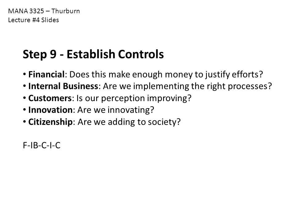 Step 9 - Establish Controls