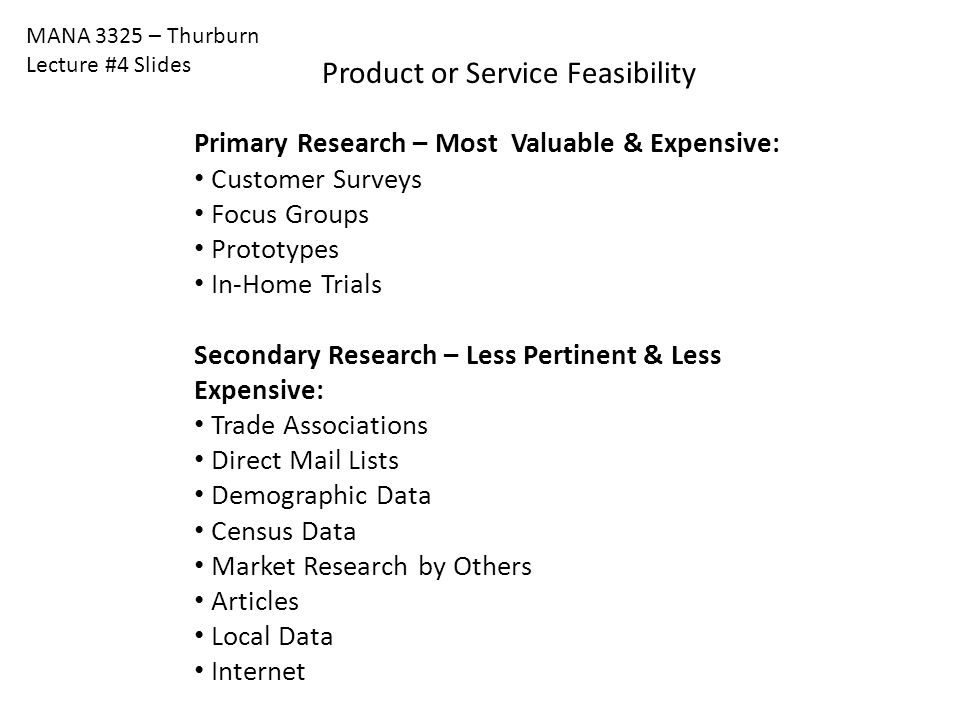 Product or Service Feasibility