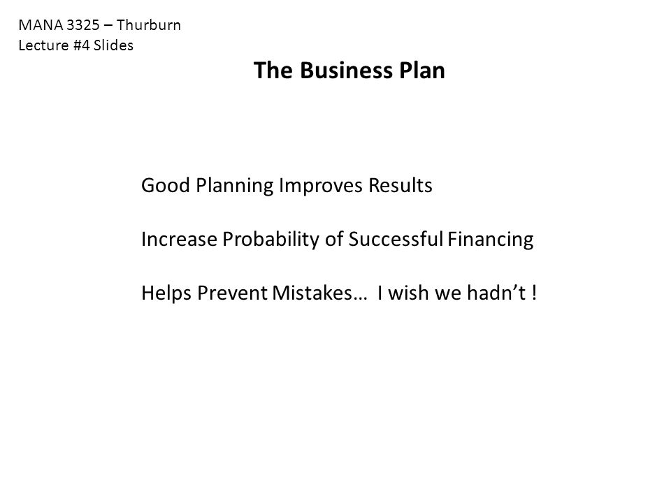 The Business Plan Good Planning Improves Results