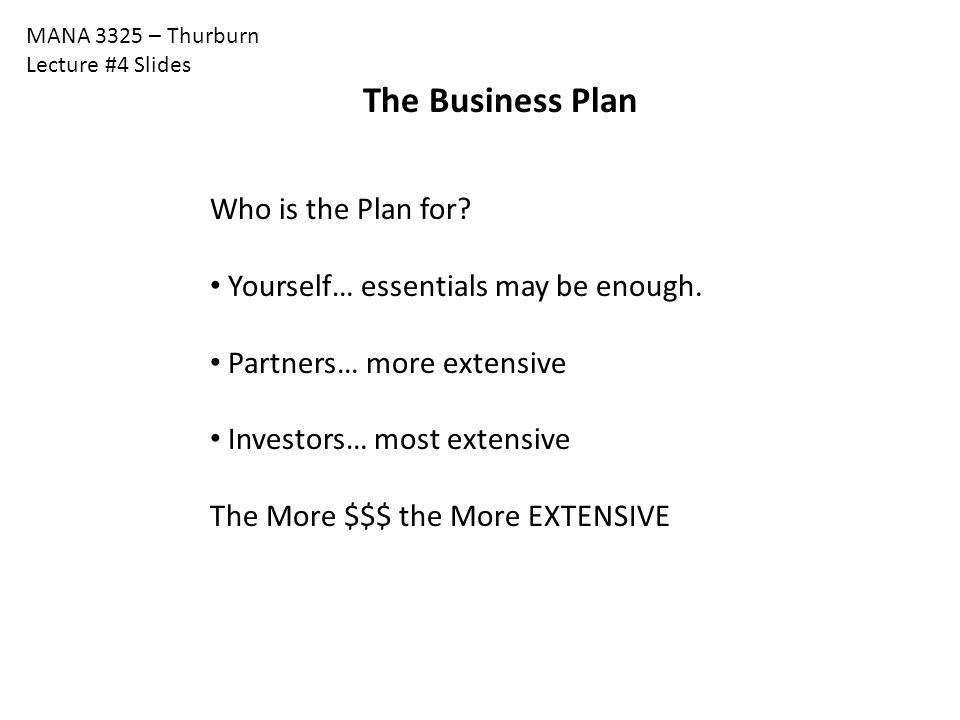 The Business Plan Who is the Plan for