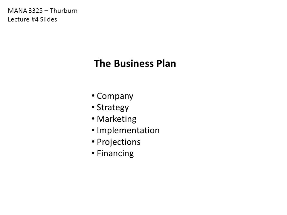 The Business Plan Company Strategy Marketing Implementation
