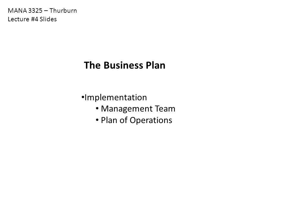 The Business Plan Implementation Management Team Plan of Operations