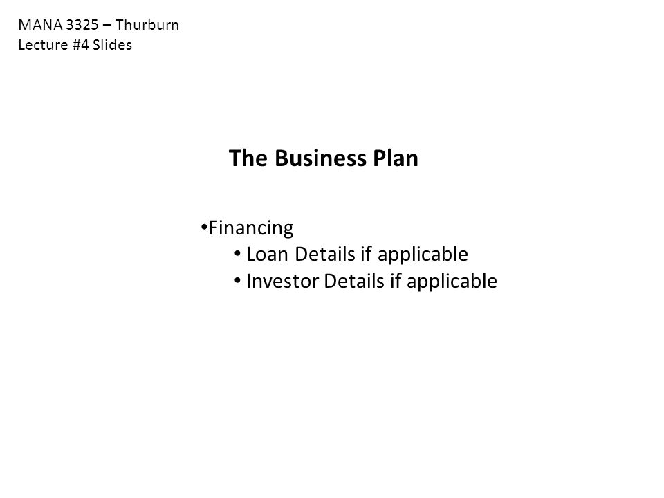 The Business Plan Financing Loan Details if applicable