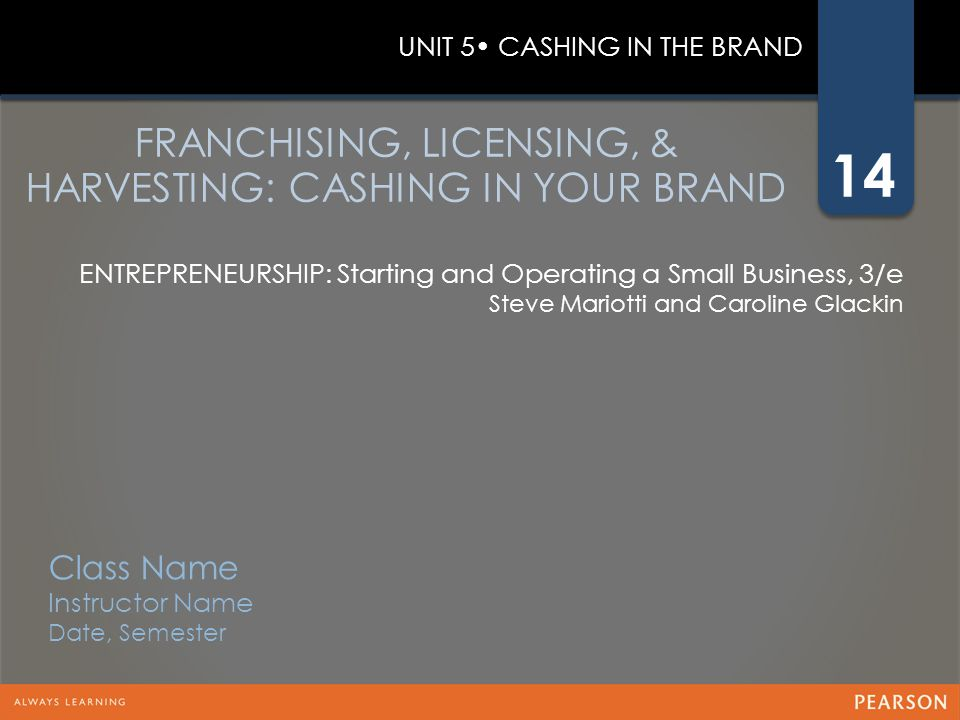 FRANCHISING, LICENSING, & HARVESTING: CASHING IN YOUR BRAND