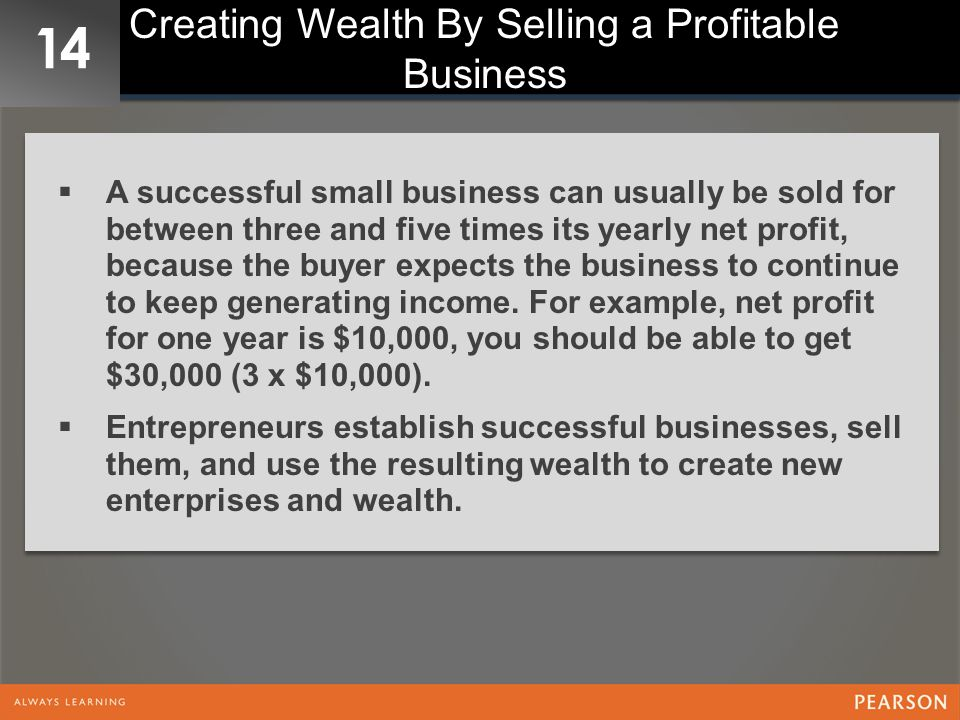 Creating Wealth By Selling a Profitable Business