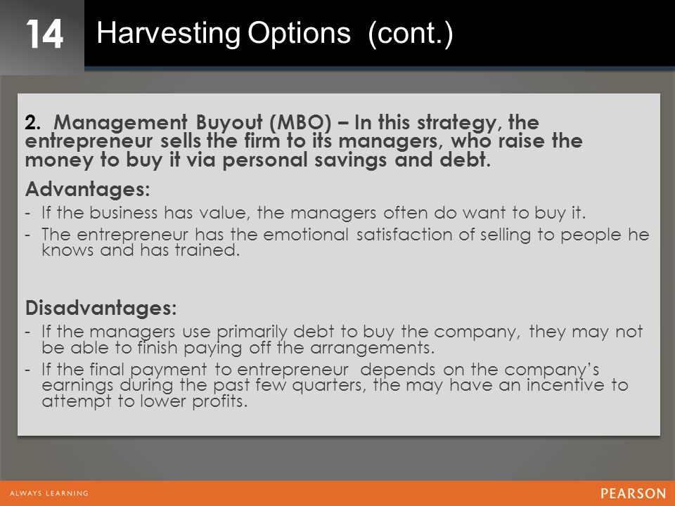 14 Harvesting Options (cont.)