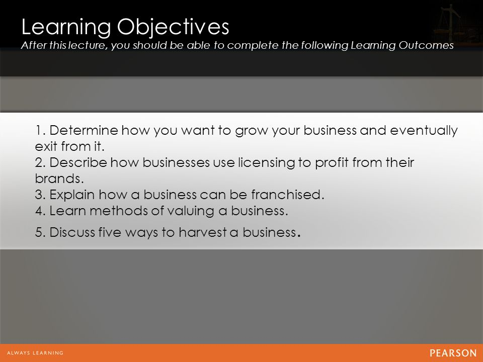 Learning Objectives After this lecture, you should be able to complete the following Learning Outcomes.