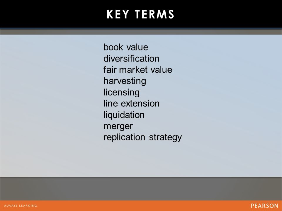 Key Terms book value diversification fair market value harvesting