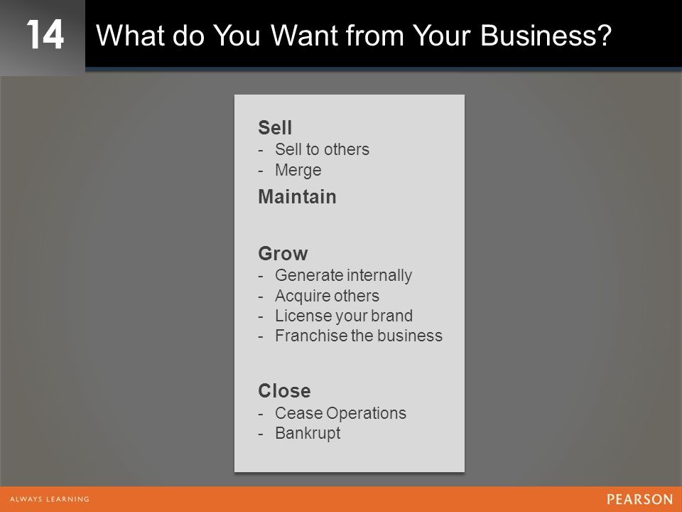 14 What do You Want from Your Business Sell Maintain Grow Close