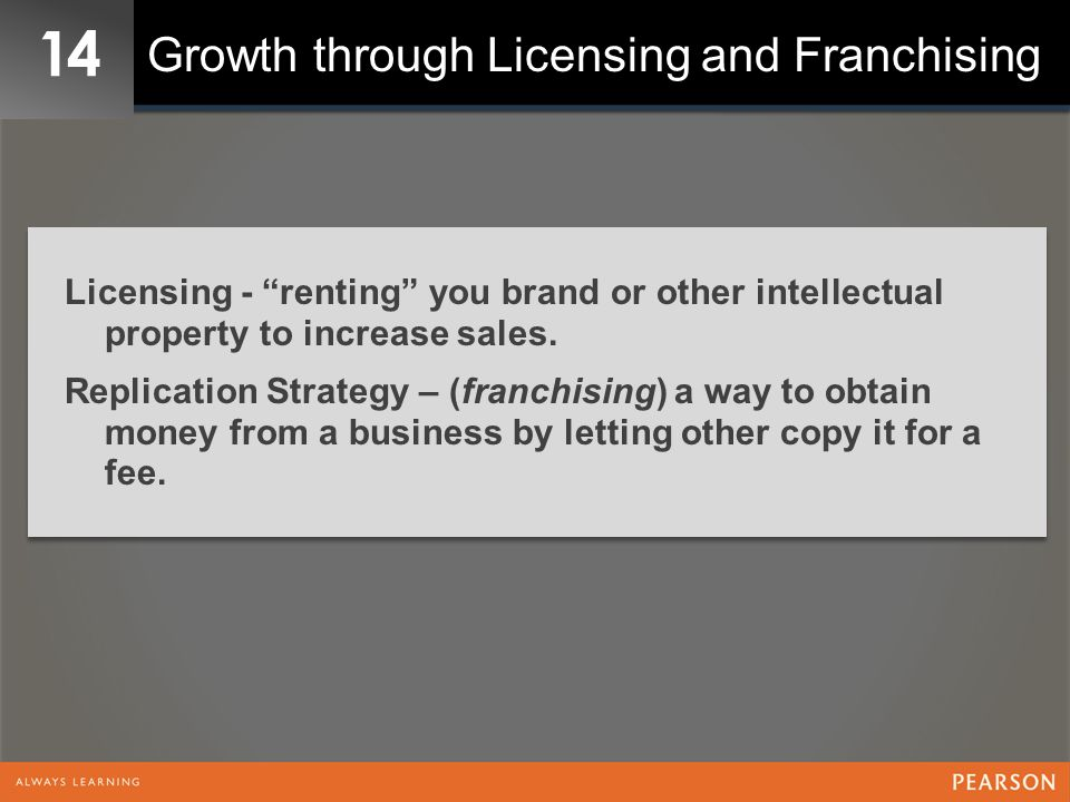 14 Growth through Licensing and Franchising