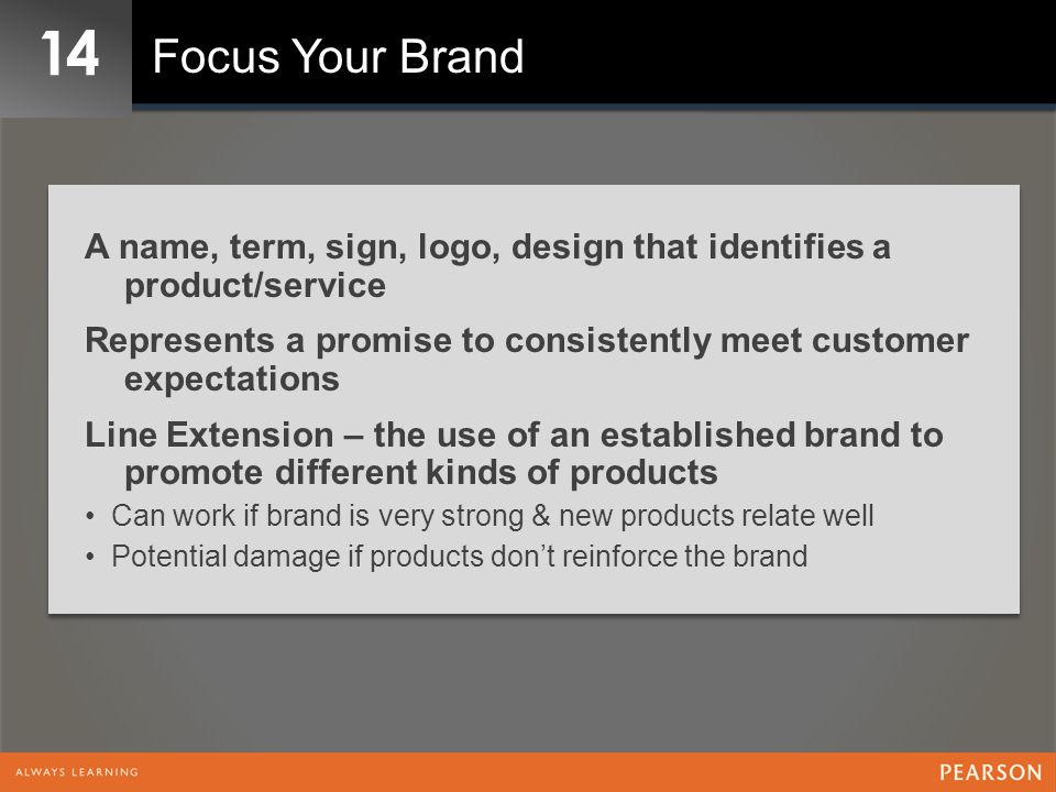 14 Focus Your Brand. A name, term, sign, logo, design that identifies a product/service.