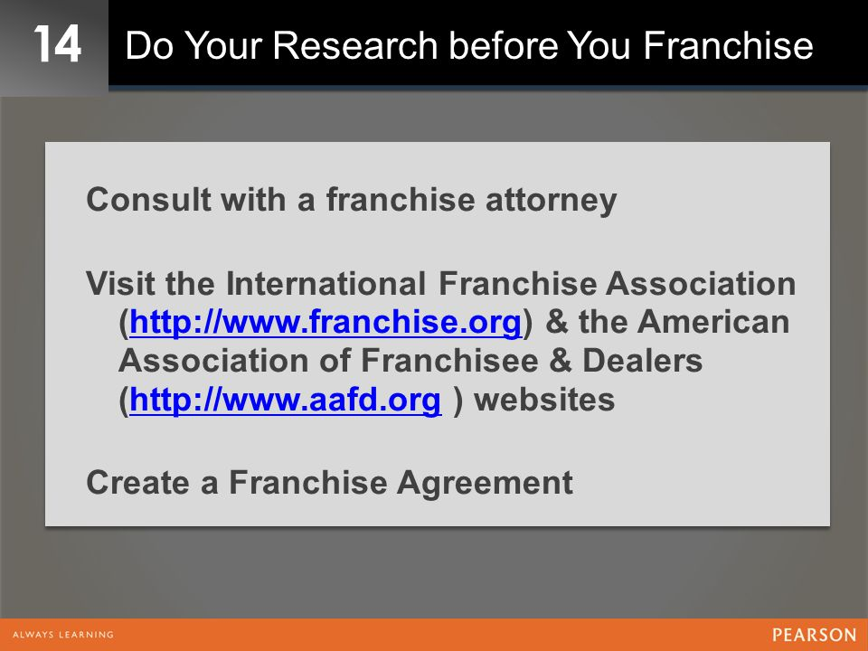 14 Do Your Research before You Franchise