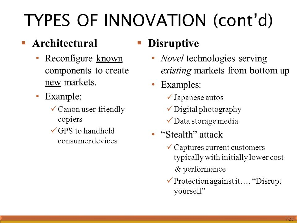 TYPES OF INNOVATION (cont'd)