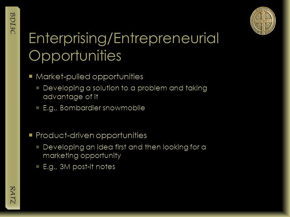 Enterprising/Entrepreneurial Opportunities