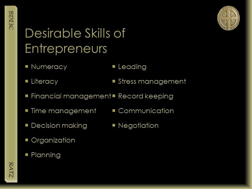 Desirable Skills of Entrepreneurs