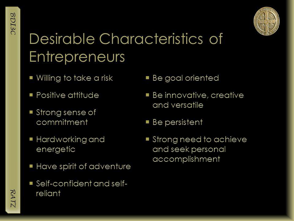 Desirable Characteristics of Entrepreneurs