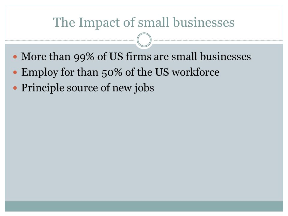 The Impact of small businesses