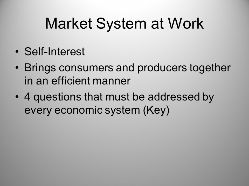 Market System at Work Self-Interest