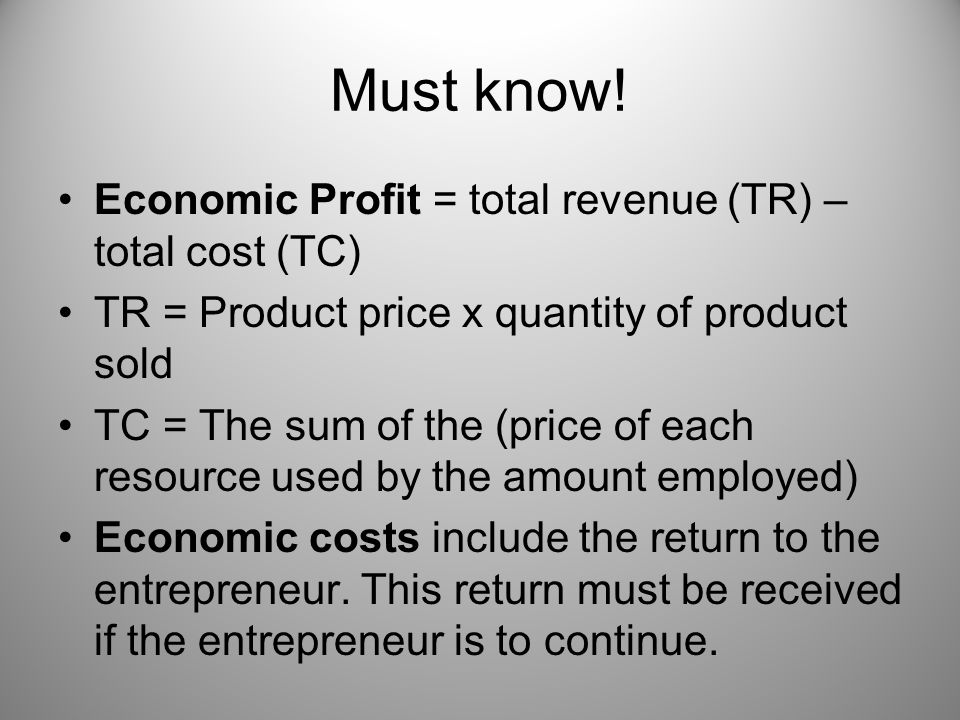 Must know! Economic Profit = total revenue (TR) – total cost (TC)