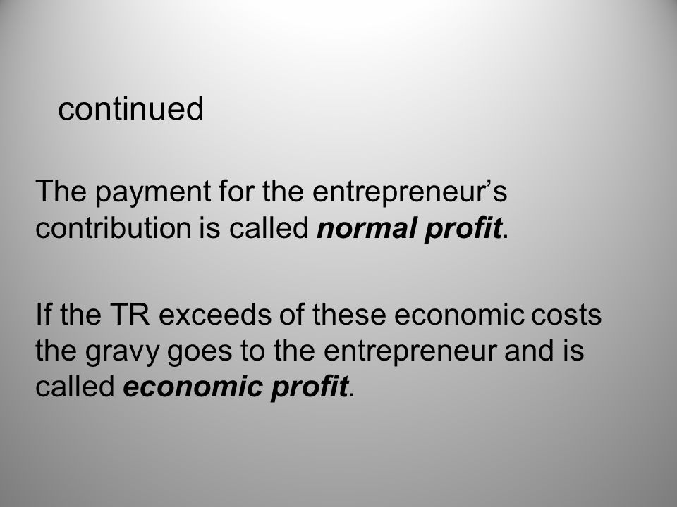 continued The payment for the entrepreneur's contribution is called normal profit.