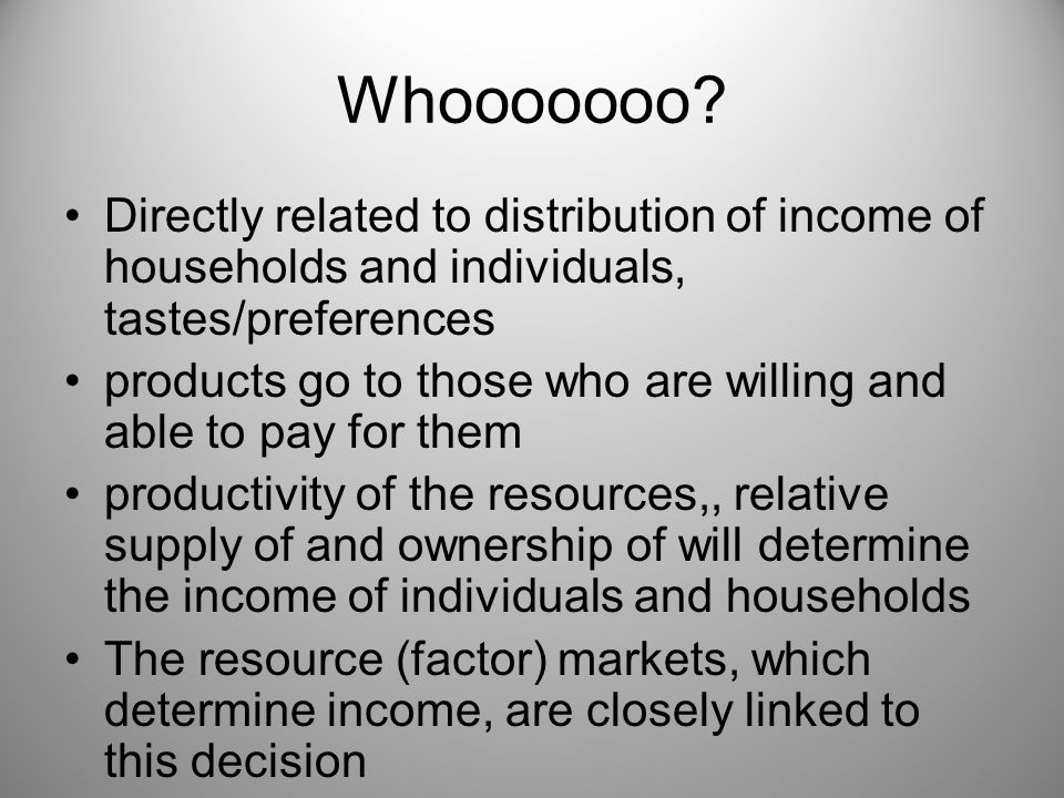 Whooooooo Directly related to distribution of income of households and individuals, tastes/preferences.