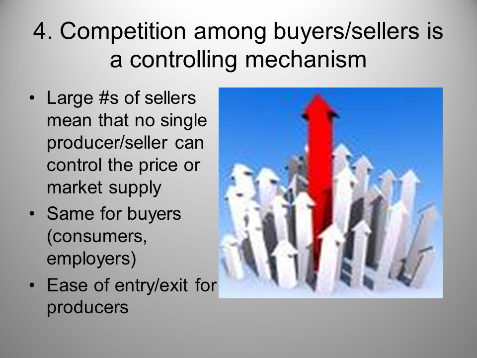 4. Competition among buyers/sellers is a controlling mechanism