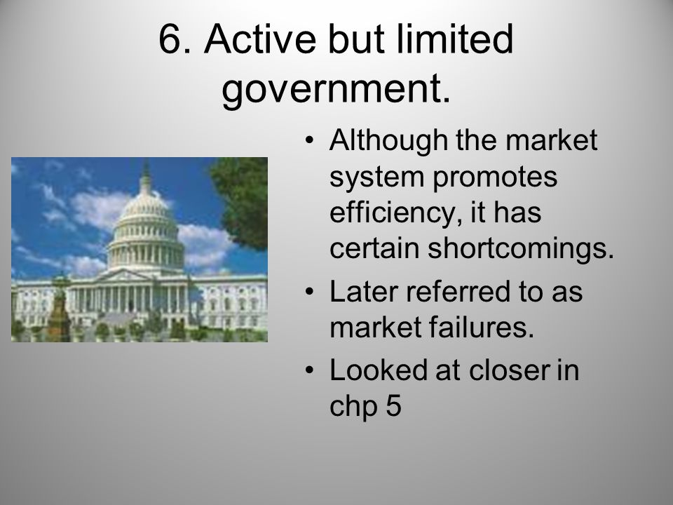 6. Active but limited government.