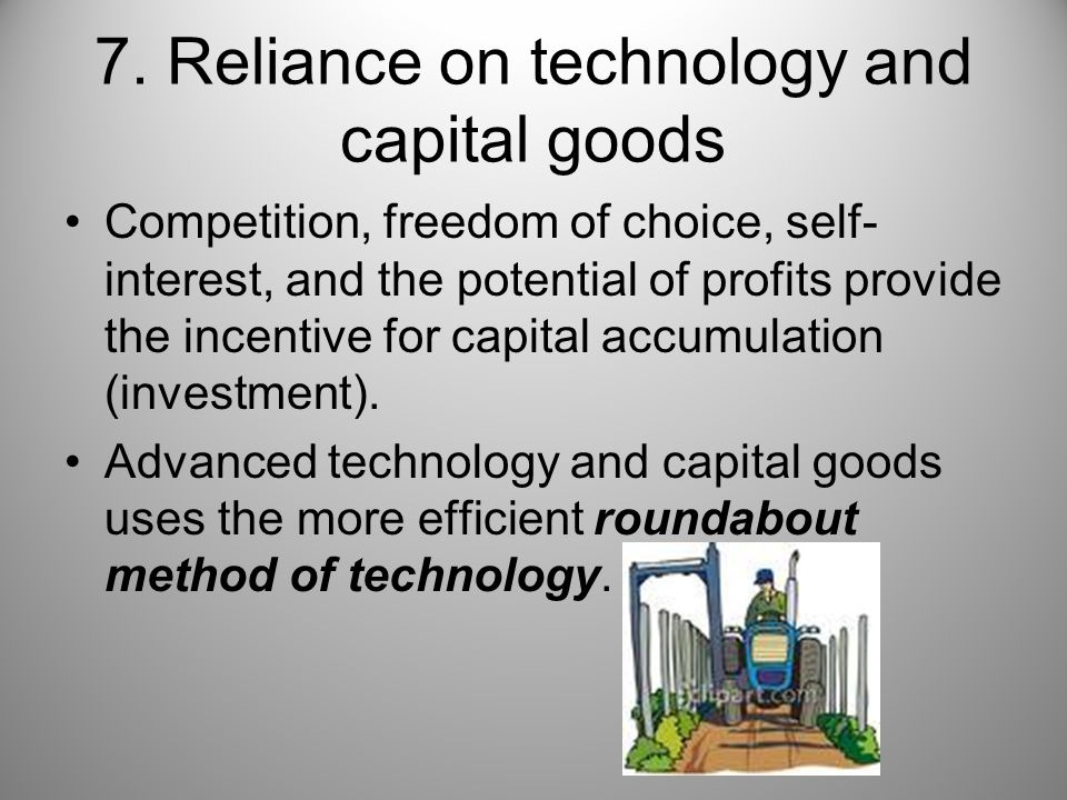 7. Reliance on technology and capital goods
