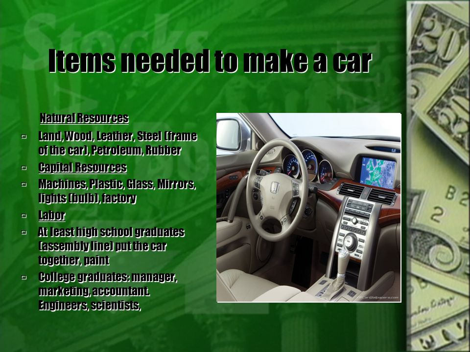 Items needed to make a car