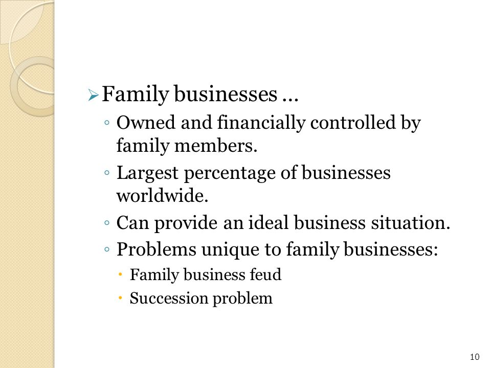 Family businesses … Owned and financially controlled by family members. Largest percentage of businesses worldwide.