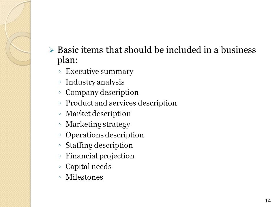 Basic items that should be included in a business plan: