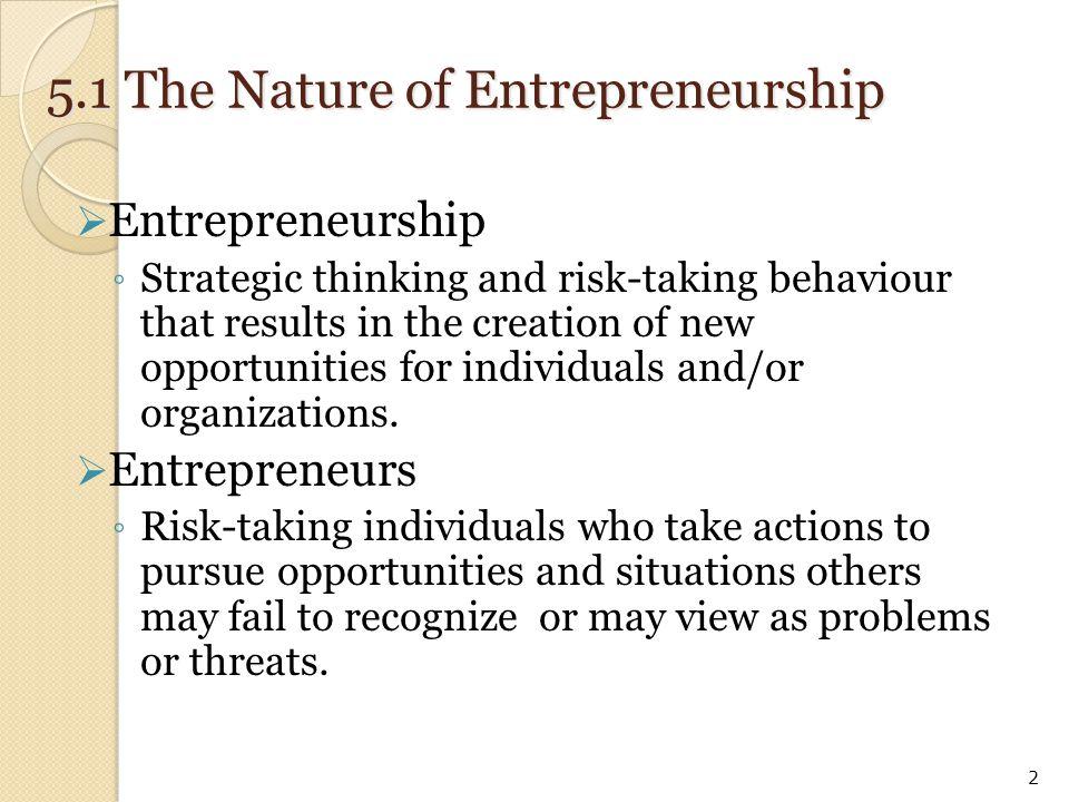 5.1 The Nature of Entrepreneurship