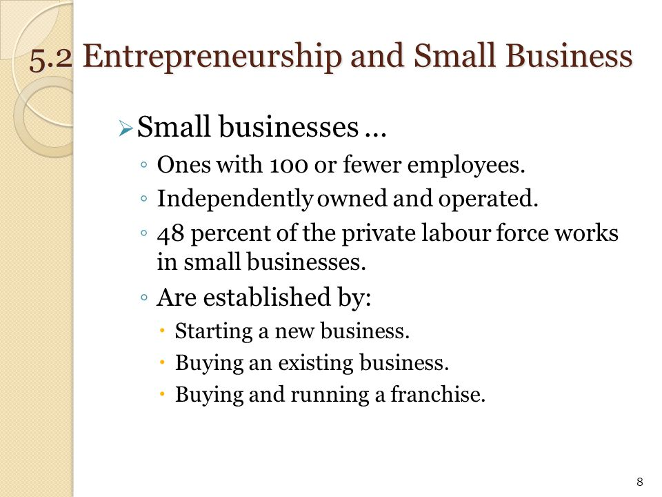 5.2 Entrepreneurship and Small Business