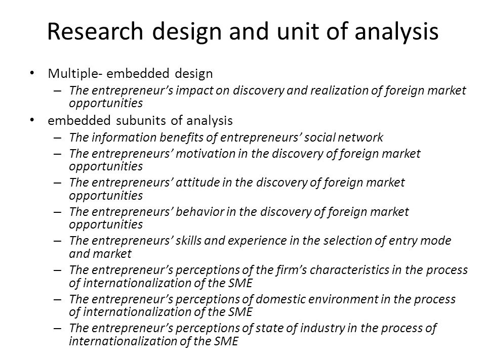 Research design and unit of analysis