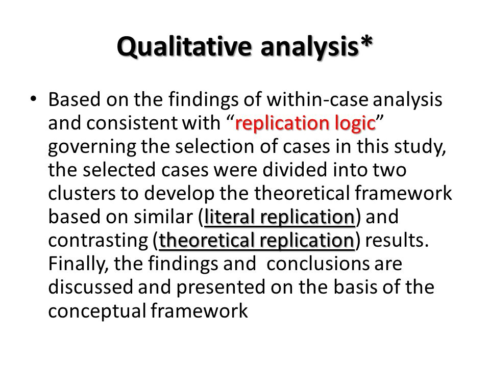 Qualitative analysis*