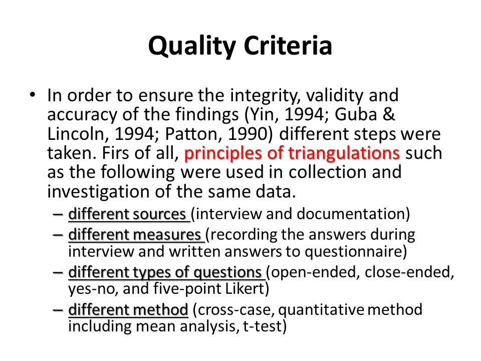 Quality Criteria