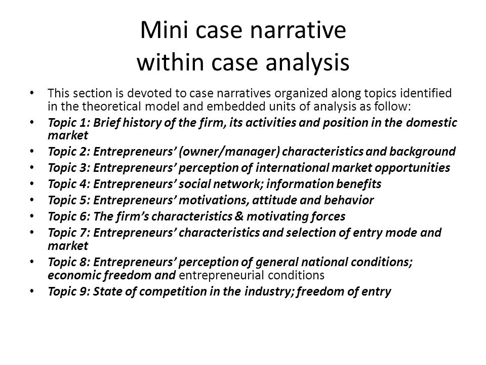 Mini case narrative within case analysis