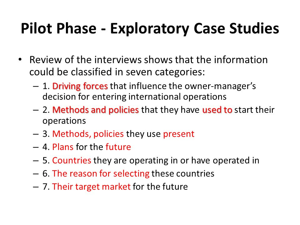 Pilot Phase - Exploratory Case Studies