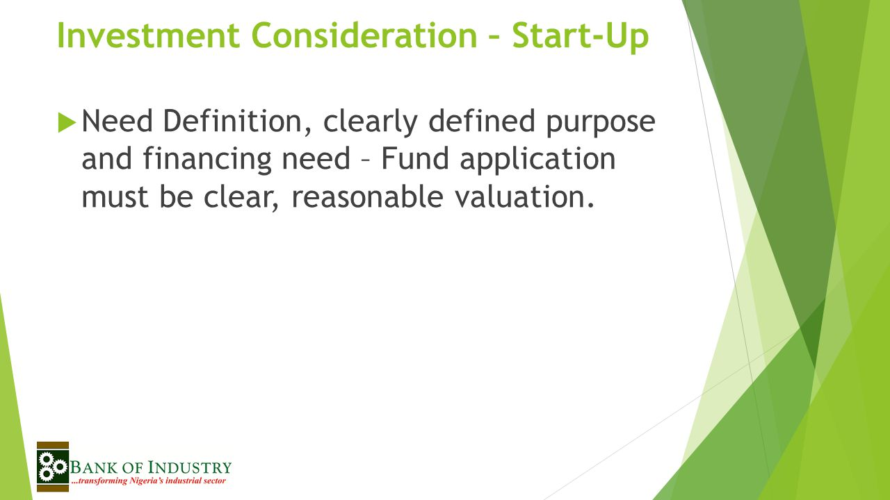 Investment Consideration – Start-Up