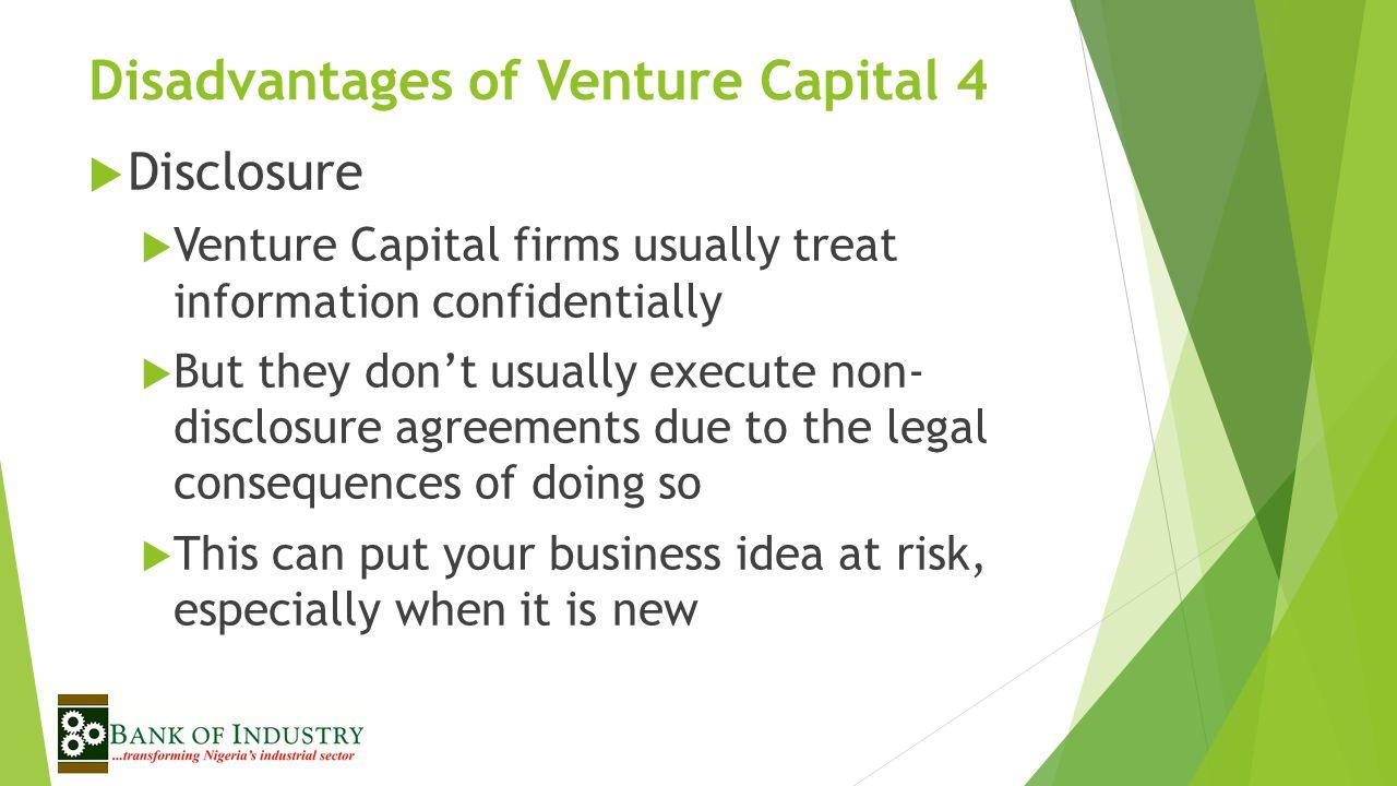 Disadvantages of Venture Capital 4
