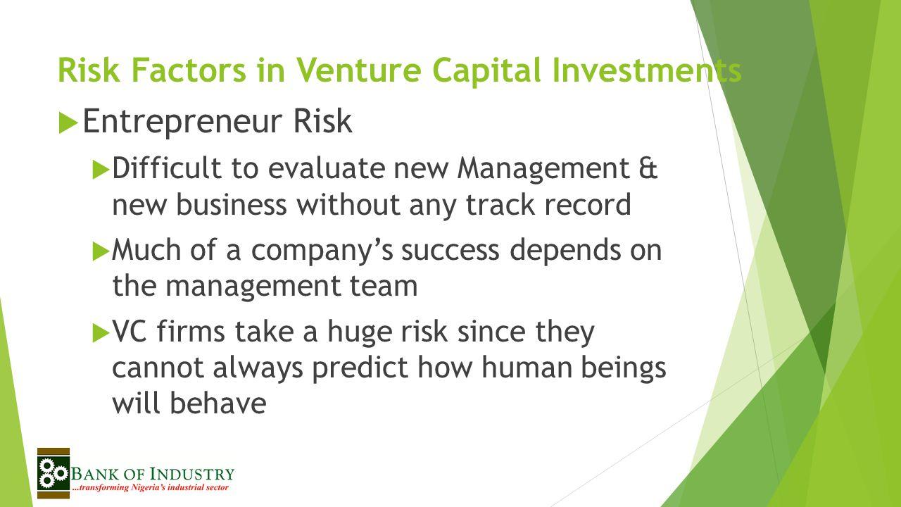 Risk Factors in Venture Capital Investments