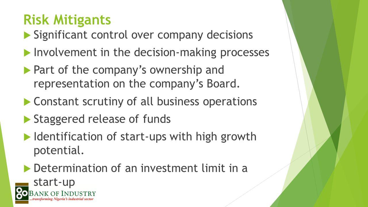 Risk Mitigants Significant control over company decisions