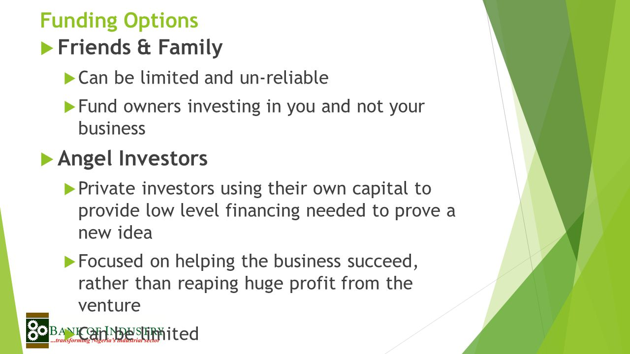 Funding Options Friends & Family Angel Investors