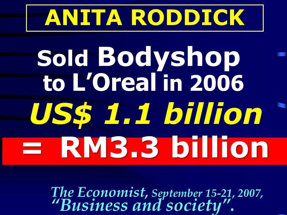 US$ 1.1 billion = RM3.3 billion