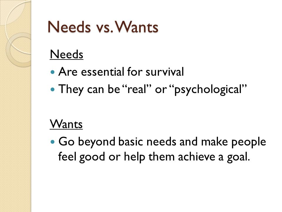 Needs vs. Wants Needs Are essential for survival