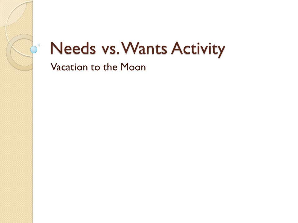 Needs vs. Wants Activity