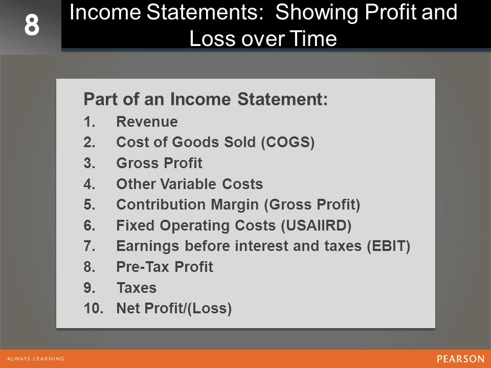 Income Statements: Showing Profit and Loss over Time